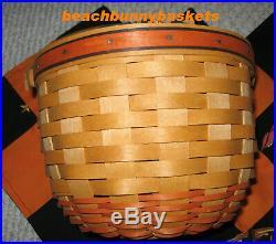 1995-1997 Longaberger set of 3 Pumpkin Baskets Combos Halloween Boo Fabric
