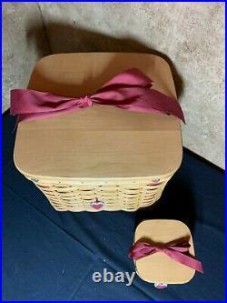 2002 Longaberger Valentines Sweetheart Lg & Sm Sweetest Gift Basket Set Combos