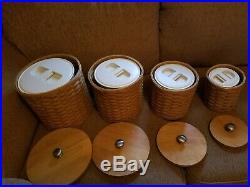 2004 Longaberger Canister (4) Set With Sealed Plastic Inserts withlids