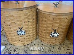 2005 Longaberger Basket Wooden Lids, Protectors & Lids 16-Pc Canister Set