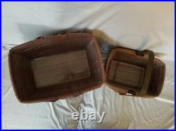 2006 Longaberger baskets withliners, Set of 2, warm brown stain, Toboso Plaid