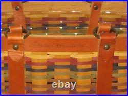 2008 Bright Multi color Hostess Village Tote Basket Set signed Tami Longaberger