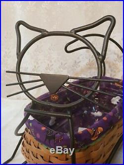 2009 Longaberger BLACK CAT Halloween basket wrought iron liner protector set BOO