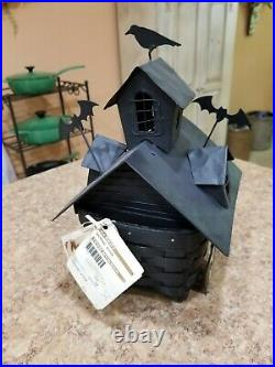 2012 Longaberger Halloween Haunted House Set Basket with Liner & Tie Ons and Tag