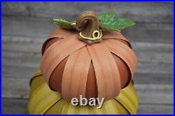 2013 Longaberger Stacked Pumpkins Decorative Trio Set with Stem Autumn Colors