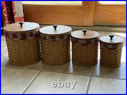 20pc. Longaberger Woven Canister Set with Toboso Plaid liners & protectors & lids