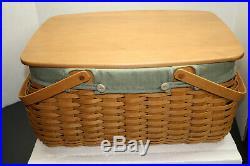 781 Longaberger 2006 Warm Brown CraftKeeping Basket Set Lid/Protector/Sage Liner