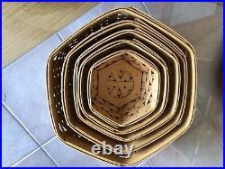 Five Longaberger Generations (hexagon shape) Basket Set with Matching Maple Lids