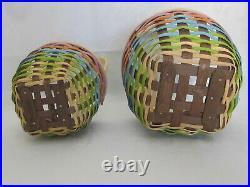 HTF Set of 3 Longaberger 2016 FOREVER SPRING NESTING Baskets Colorful Easter