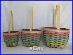 Hard to Find Set of 3 Longaberger 2016 FOREVER SPRING NESTING Baskets Colorful
