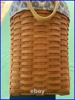 LONGABERGER 1999 LARGE OVAL WASTE WithPLASTIC PROTECTOR & FABRIC LINER COMBO SET