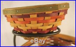 LONGABERGER 2008 FIESTA TRIANGLE BASKETS & WROUGHT IRON CHIP & DIP SET Combo