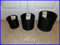 LONGABERGER 2010 Canister Set COMBOS (Baskets, Protectors, Lids) Ebony