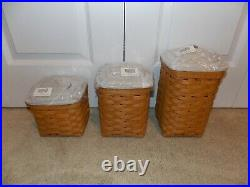 LONGABERGER 2012 Square Canister Set COMBOS (Baskets + Lids) Warm Brown WB