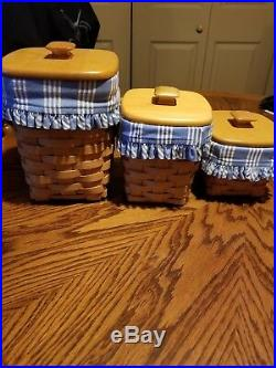 LONGABERGER Basket Canisters with Lids Lot Set of 3