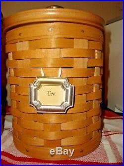 LONGABERGER CANISTER BASKET SET SET OF 4 Excellent Condition Complete