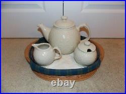 LONGABERGER Collector's Club TEA TRAY Basket + Cream & Sugar Set / Tea Pot
