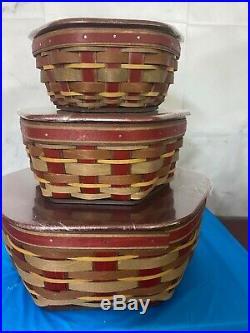 LONGABERGER Crimson Hill Generation Basket Set With 8, 10 And 14 Inch Basket NEW
