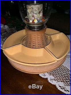 LONGABERGER ETCHED GLASS HURRICANE PEDESTAL BASE With LAZY SUSAN, PAD, 2 Set Dishes