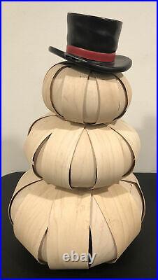 LONGABERGER Large (16) & Medium (12) Top Hat Snowman Set RARE