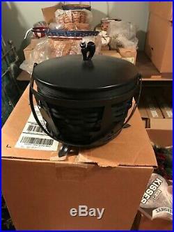 LONGABERGER Large Cauldron 5 pc set basket, liner, prot, lid, and WI stand new