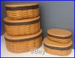 LONGABERGER NWOB Collector Club Set Of 5 Harmony Stack Baskets Lids Dividers SR