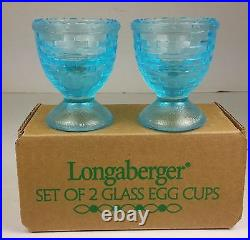 LONGABERGER Pressed Blue Glass Egg Cups Set of 2 Basket Weave New in Box