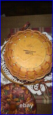 LONGABERGER Set Of 3 PUMPKIN Baskets withFALL FOLIAGE Fabric liners & Fabric Lids