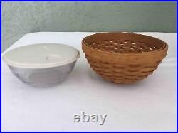 LONGABERGER Set of 3 Bowls with Snap Lids with Baskets 7 11 and 13