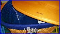 LONGABERGER Small Work Load Basket Set-2002(Lid, Liner, Protector, Tie-on)