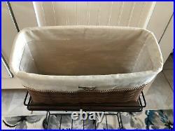 LONGABERGER WROUGHT IRON FILE BASKET RACK SET w Wood Shelf, Tall File Basket EUC
