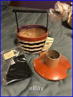 LONGABERGER Wicked Witch 4 pc Set with WI broom handle, lid, liner, and prot- new