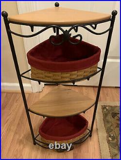 LONGABERGER Wrought Iron Corner Basket Set 2 Baskets & 2 WoodCrafts Shelves