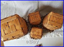 Longaberger 1997 Basket Combos-Set of 4-Canisters-Storage MINI WASTE SIGNED