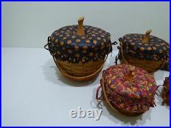 Longaberger 1997 Halloween Hostess Large & Small Pumpkin Basket Combo Set of 4
