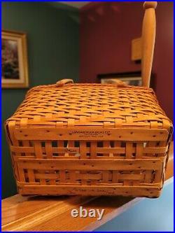 Longaberger 2000 Dave Longaberger Founders Basket Set withLid & 2 Pc Protector NIB