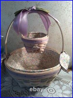 Longaberger 2000 Large And Small Whitewashed Easter Basket Sets With Tie-On