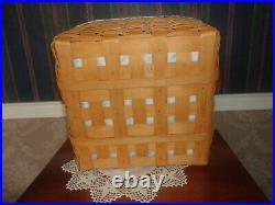 Longaberger 2000 Medium Wash Day Basket Set with Lid Heirloom Floral