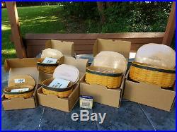 Longaberger 2001 CC Harmony, Blue-Green Trim, 5pc set, Lids, Protectors