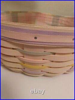 Longaberger 2001 Large Easter Basket Set Whitewashed Jelly Bean Liner MINT