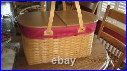 Longaberger, 2003 Hostess Only Extra Large Oval Picnic Basket Set, NEW