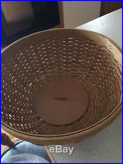 Longaberger 2004 Bowl Baskets Withprotectors & Liners Set Of 4 7,9,11,13 EUC