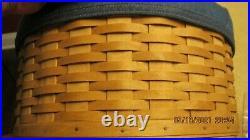 Longaberger 2004 Hatbox Basket Set 2 liners lid protector