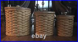 Longaberger 2004 basket 3 canister set With Plastic Inserts And Lids