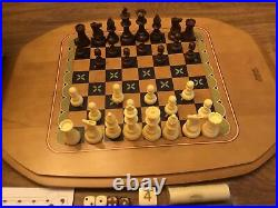 Longaberger 2005 ALL IN ONE GAME Basket Set Chess Checkers Backgammon 21 X 15