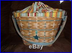 Longaberger 2006 Coastal Tote Basket Set with Tie-On Sunflower Stripe
