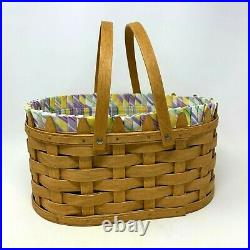 Longaberger 2007 Large Easter Basket Set with Fabric Liner and Plastic Protector