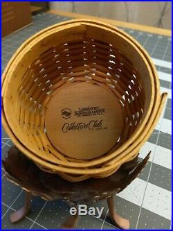 Longaberger 2008 Collectors Club Acorn Basket Set with Stand