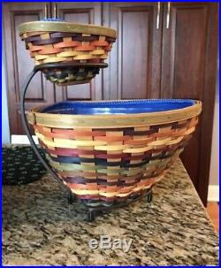 Longaberger 2008 Fiesta Triangle Baskets & Wrought Iron Chip & Dip Set