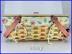 Longaberger 2008 Small Market Buds & Blossoms Basket Set with Lid SUMMER! NEW